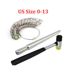 3pcs Set Finger Ring Sizer Mandrel Stick Metal Measure Gauge Hammer Jewelry Tool