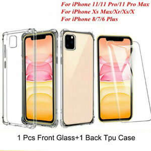 For Apple iPhone 11 Pro Max Clear Tpu Shockproof Bumper Case + Screen Protector