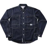 Non Stock Vintage Engineer Work Shirt Denim Casual Long Sleeve Shirt For Juniors