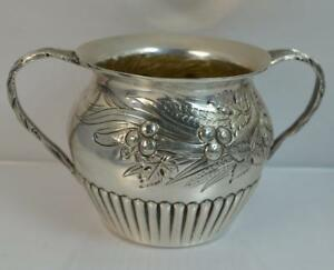 1897 Victorian Solid Silver Floral Design Two Handled Bowl