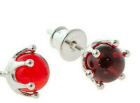 CERTIFIED CHERRY RED BALTIC AMBER & 925 STERLING SILVER STUDS EARRINGS VINTAGE