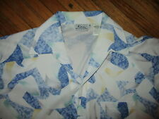 vtg Dache Polyester Polo Shirt Disco 1970s 1980s Lapel Collar White Blue Medium