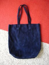 BAGGU Genuine Natural Leather Suede Tote Navy Blue Made in USA Mint Condition