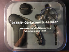 Rabbit Corkscrew & Aerator - Lever Corkscrew w/ Wine Aerator, Foil Cutter, and E