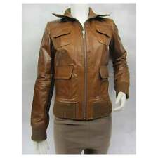 Ladies Tan Glaze Leather Slim Tight Fitted Short Biker Fashions Jacket Bike