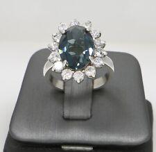 Flower Ring Sterling Silver 925 CZ & Blue Garnet Stone Cocktail Ring 10 Grams