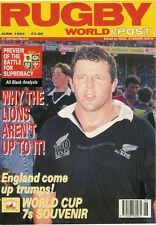 Revista Mundial De Rugby junio de 1993 - 1971 Leones, Sudbury, la lectura, escuela de Durham