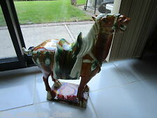 "Terracota Chinese horse, gorgeous colors, vibrant 19"" tall by 21"" long heavy!"
