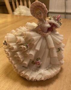 """Lovely Irish Dresden Figurine - Henrietta - 6-1/2"""" - Few Breaks In Lace Skirt."""