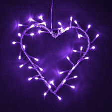 A Batteria LED Viola in Metallo Cuore Corona FAIRY stringa luci parete Lampada Nuova