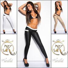 Señora KouCla cuero look pantalones treggings con Zips