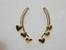 14K YELLOW GOLD DANGLE TRIPLE HEART POST EARRINGS