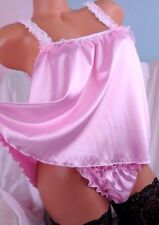 Shiny Baby Pink Silky Soft smooth and shiny sissy babydoll camisole nightie OS