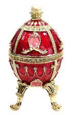 Handmade  Metal Egg Trinket Box Hand Paint Faberge Egg  Box w Crystals, Red Col