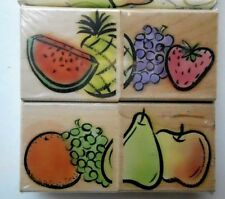 FRUIT MOSAICS  Rubber Stamps Hero Arts Stamp Set Poetic Prints NEW