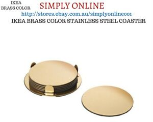 ROUND IKEA BRASS COLOUR 6 PCS  COASTERS WITH HOLDER - GLASS BEER MUG DRINK