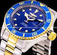 Invicta Men PRO DIVER Blue Dial & Bezel Silver 18K Gold Bracelet 43mm Watch