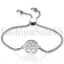 Stainless Steel Women's Ladies Charm Tree of Life Dangle Chain Bracelet Bangle