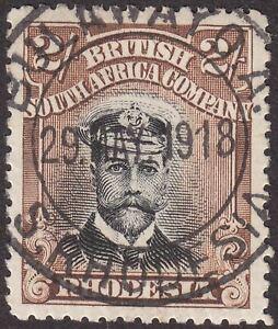 Rhodesia 1918 KGV Admiral 2sh Black + Brown Die II p14 Used BULAWAYO A Postmark