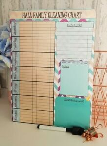 Personalised wipeable family Cleaning/Mrs Hinch To Do Homework planner
