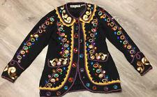 Vintage 80s 90s Retro Black Rhinestone Jeweled Bling Blazer Jacket Size Med