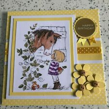 Handmade Happy Birthday Card cute girl with pony yellow dots, buttons & flowers