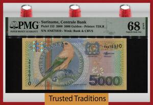 TT PK 152 2000 SURINAME CENTRALE BANK 5000 GULDEN BIRD PMG 68 EPQ SUPERB GEM UNC