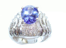 4.41ct Tanzanite & Diamond Ring in 14K White Gold