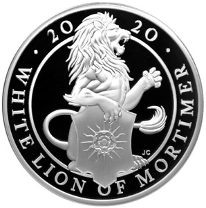 2020 Queens Beast 'The White Lion of Mortimer' 1oz 999 fine silver Proof Coin
