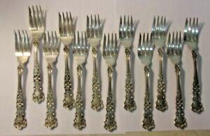 Antique Gorham STERLING Buttercup STERLING SILVER Salad Seafood Forks 12 Pieces