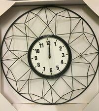Wall Clock Black Metal SIL NEW (Q)