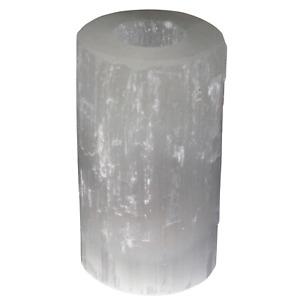 Natural Selenite Crystal - Cylinder Shape - Tea Light Candle Holder - 15cm
