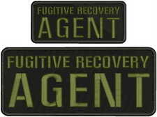 FUGITIVE RECOVERY AGENT EMBROIDERY PATCH 4X10 AND 2X5 HOOK ON BACK BLK/OD
