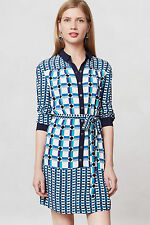 Anthropologie Mod Plaid Shirtdress Summer Tunic Dress Blue By Maeve, Size 10