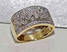 Beautiful 9kt Giallo Oro & Argento Diamante Vistosa Da Donna Anello - taglia M