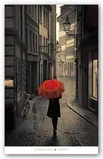CITYSCAPE ART PRINT Red Rain Stefano Corso