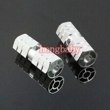 "1pair New BMX Bike Bicycle Cylinder Aluminum Alloy 3/8"" Axle Foot Pegs Silver"