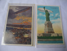 Vintage Two Zeppelin Post Cards One New York Statue Of Liberty One Bombing Run