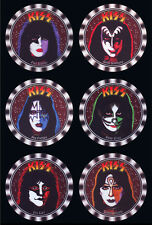6 X KISS DRINK COASTERS, STANLEY SIMMONS FREHLEY CRISS VINCENT CARR - WASHABLE -
