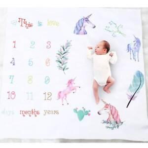 Newborn Baby Letter Milestone Blanket Photography Photo Props Shoots Unicorn