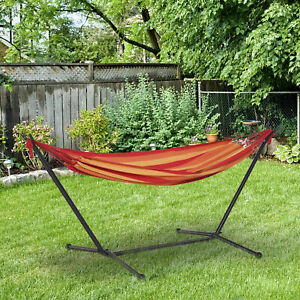 Outsunny 277 x 121cm Hammock with Metal Stand Carrying Bag 120kg Red Stripe