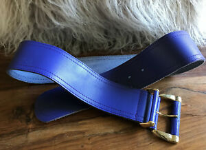 CARLO Authentic Vintage Purple Leather Wide Belt with Gold Tone Buckle sz M/10