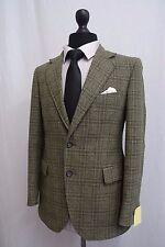 Men's Burton Green Check Vintage Tweed Jacket Blazer 38S SS8462