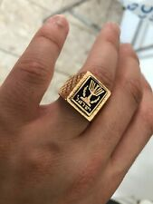 Men's 14 Karat Rose Gold Seal of the State of Israel Ring. Excellent. SZ 10.