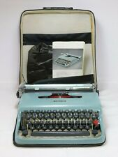 Vintage OLIVETTI LETTERA 22 Portable Typewriter w/ CASE, DUST COVER + MANUAL