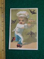 1870s-80s Burdett Organ Co Boy Holding Cake from Birds Victorian Trade Card F36