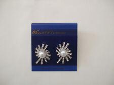 Starburst Silver Coloured Stud Earrings White Pearl Ball Centre New