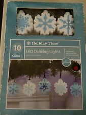 10 XMas Snowflake LED Dancing Lights Battery Operated Indoor 9' Holiday Time