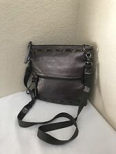 The Sak Pax Swing Pack Gunmetal Gray Leather Crossbody Foldover Handbag