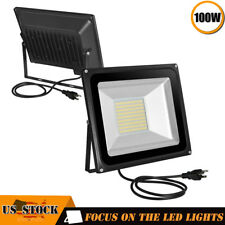 2 x 100W LED Flood Light Waterproof Outdoor Wash Lamp w/ US Plug 110V Warm White